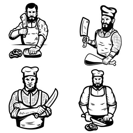白い背景の上の肉屋のイラストをセットします。ロゴ、ラベル、紋章、記号の要素をデザインします。ベクトル図  イラスト・ベクター素材