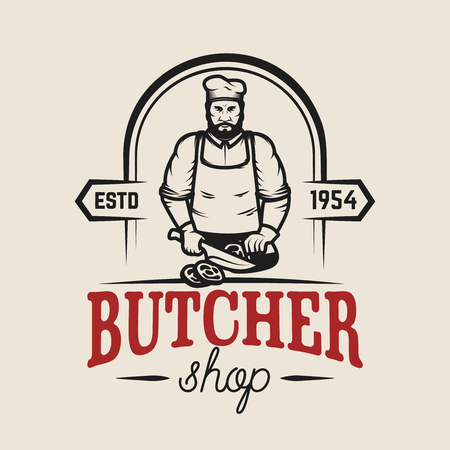 精肉店。ロゴ、ラベル、エンブレム、サイン、ポスターのデザイン要素です。ベクトル図  イラスト・ベクター素材