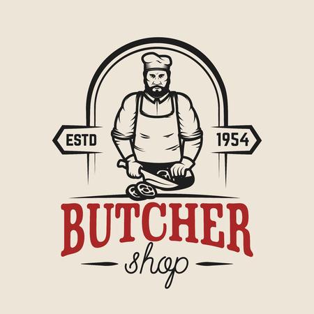 Butcher shop. Design element for logo, label, emblem, sign, poster. Vector illustration
