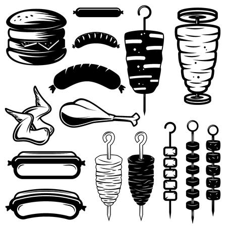 ストリート フード デザイン要素のセットです。ハンバーガー、ホットドッグ、ケバブ、手羽先、バーベキュー。ロゴ、ラベル、紋章、記号の要素を