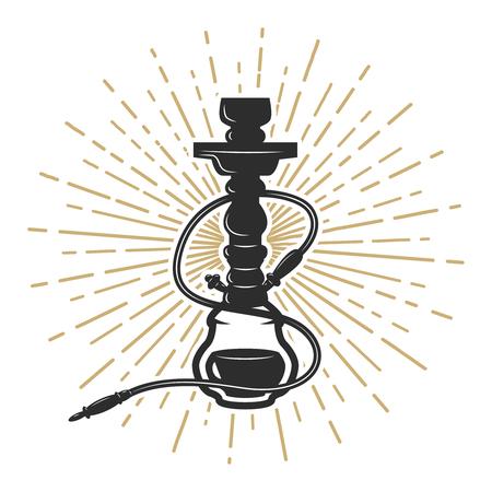 Hookah illustration on white background. Design element for logo, label, emblem, sign. Vector illustration Illustration