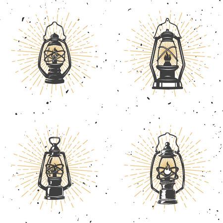 Set of vintage kerosene lamp illustration on white background. Design element for logo, label, emblem, sign. Vector illustration