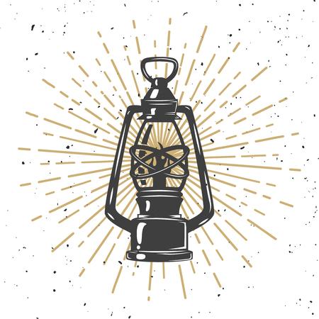 Illustration of vintage kerosene lamp  on white background. Illustration