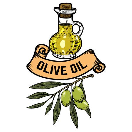 Extra virgin olive oil. Olive branch. Design element for emblem, sign, badge, label. Vector illustration