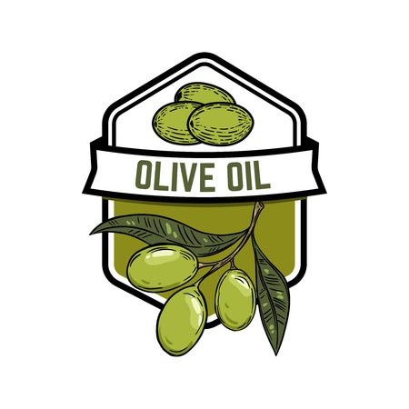 Olio extravergine d'oliva. Ramo d'olivo. Elemento di progettazione per emblema, segno, badge, etichetta. Illustrazione vettoriale Archivio Fotografico - 87810635