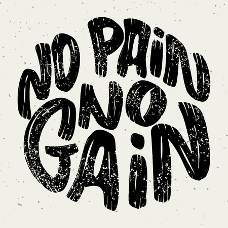 no pain no gain. Lettering phrase on white background. Design element for poster, emblem, sign. Vector illustration Çizim
