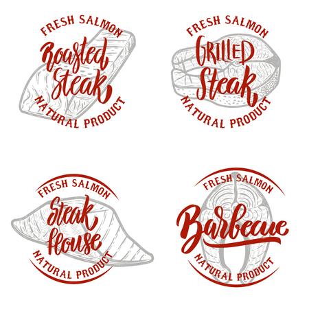 Set of salmon steak emblems on white background. Design elements for logo, label, emblem, sign. Vector illustration 向量圖像