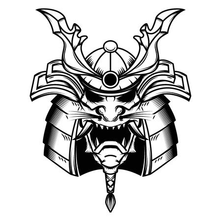Samurai helmet illustration on white background. Design element for logo, label,emblem, sign. Vector illustration