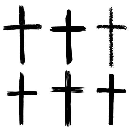 Ensemble de croix grunge dessinés à la main. signe religieux. Éléments de conception de vecteur