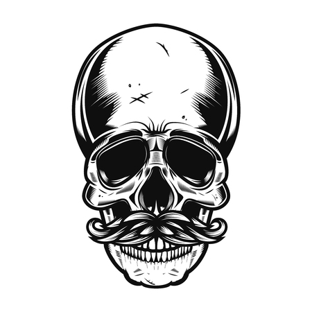 Illustration of the human skull with mustaches isolated on white background. Vector illustration