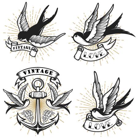 Reeks uitstekende stijltatoegering met slik vogels, anker op witte achtergrond wordt geïsoleerd die. Ontwerpelement voor logo, label, embleem, teken. Vector illustratie. Stockfoto - 87757632