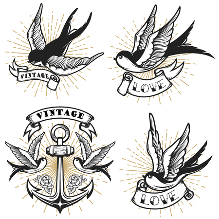 Set of vintage style tattoo with swallow birds, anchor isolated on white background. Design element for logo, label, emblem, sign. Vector illustration. Ilustração