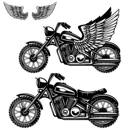 Motorcycle illustration on white background. Winged motorbike. Design elements for logo, label, emblem, sign, badge, poster. Vector illustration.