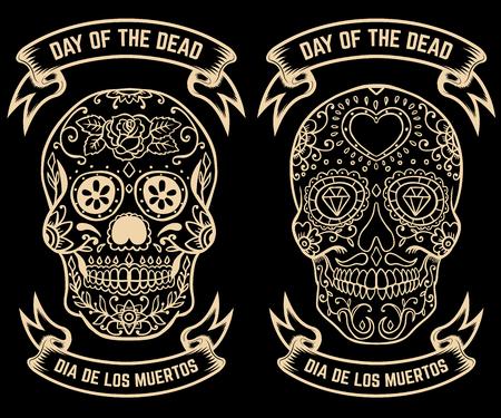 死者の日。Dia デ ロス ムエルトス。砂糖の頭蓋骨のセットです。ポスター、グリーティング カード、バナーのデザイン要素です。ベクトルの図。