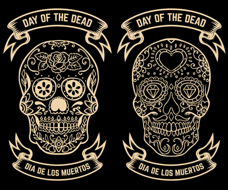 Day of the dead. Dia de los muertos. Set of the sugar skulls. Design elements for poster, greeting card, banner. Vector illustration.