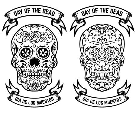 Dag van de Doden. Dia de los muertos. Set van de suiker schedels. Ontwerpelementen voor poster, wenskaart, banner. Vector illustratie. Stock Illustratie