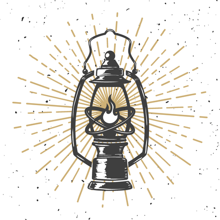 Vintage kerosene lamp with light lines. Design element for poster, greeting card, banner. Vector illustration. Çizim