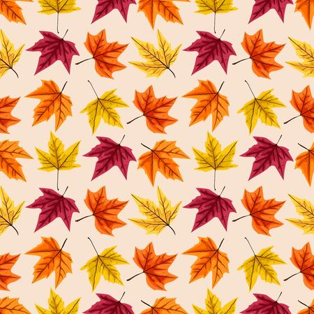 秋の紅葉のシームレスなパターン。ベクトルの図。