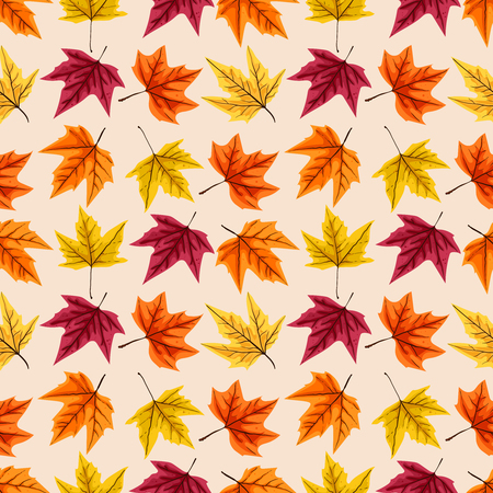 Seamless pattern with autumn leaves. Vector illustration. Иллюстрация