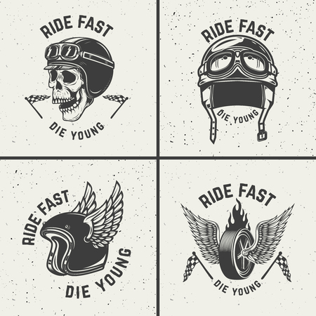 Ride fast die young. Racer helmets, wheel with wings. Design elements for poster, emblem, sign, t shirt. Vector illustration.