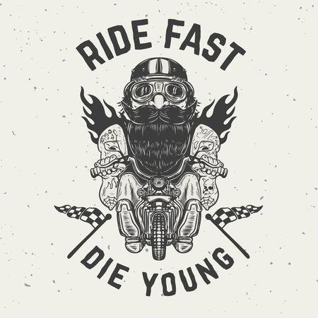 Ride fast die young. Funny biker character on grunge background. Design element for poster, t shirt, card, banner. Vector illustration.