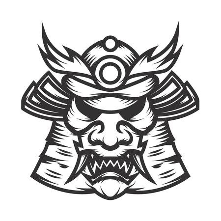 Samurai helmet illustration on white background. Design element for logo, label, emblem, sign. Vector illustration. Illustration