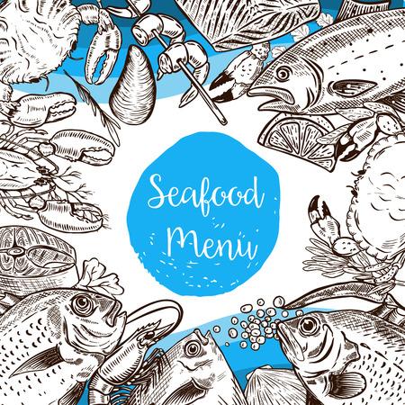 Seafood menu template. Fish, crabs, shrimp, lobster, caviar. Design elements for poster, flyer, banner, menu. Vector illustration. Ilustrace