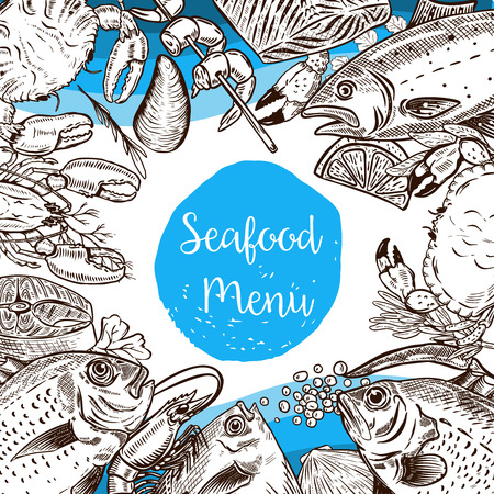 Seafood menu template. Fish, crabs, shrimp, lobster, caviar. Design elements for poster, flyer, banner, menu. Vector illustration. Illustration