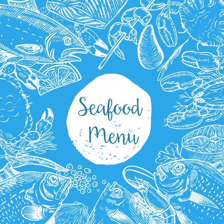 シーフードのメニュー テンプレートです。魚、エビ、牡蠣、ロブスター、カニ。ポスター、バナー、チラシのデザイン要素です。ベクトルの図。