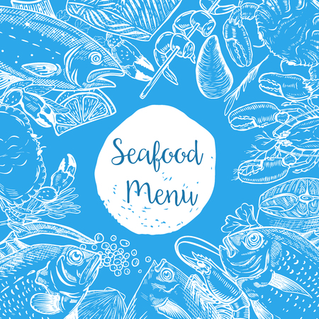 Seafood menu template. Fish, shrimps, oyster, lobster, crab. Design elements for poster, banner, , flyer. Vector illustration. Ilustrace