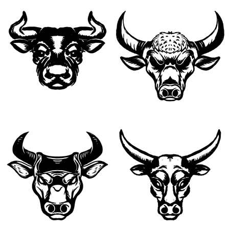 Set of hand drawn bull heads on white background. Design elements for emblem, sign, badge. Vector illustration.