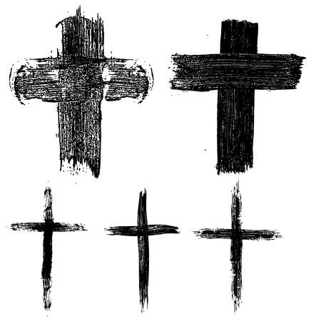 손으로 그린 집합이 십자가. 종교 기호입니다. 로고, 레이블, 엠 블 럼, 기호, 배지 디자인 요소입니다. 벡터 일러스트 레이 션.