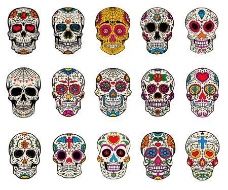 Set di illustrazioni di teschi di zucchero. Giorno morto. Dia de los muertos. Elementi di design per poster, carta, flyer, banner. Illustrazione vettoriale Vettoriali