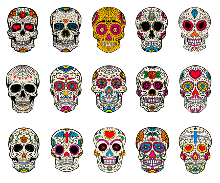 Set of sugar skulls illustrations. Dead day. Dia de los muertos. Design elements for poster, card, flyer, banner. Vector illustration. Çizim