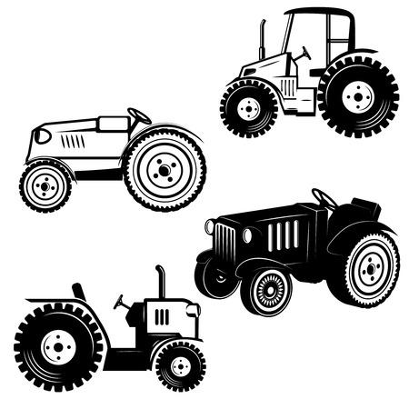 Conjunto de iconos de tractor aislado sobre fondo blanco. Elementos de diseño para logotipo, etiqueta, emblema, signo, insignia. Ilustración vectorial Foto de archivo - 87971495