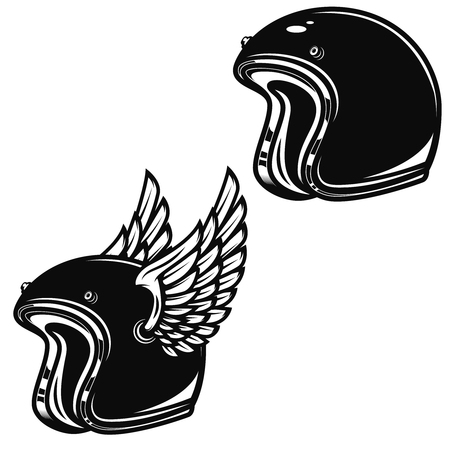 Winged racer helmet isolated on white background. Design element for logo, label, emblem, sign, badge. Vector illustration.