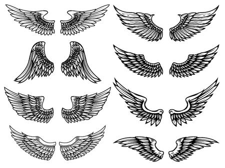 Reeks uitstekende die vleugelsillustraties op witte achtergrond wordt geïsoleerd. Ontwerpelement voor logo, etiket, embleem, teken. Vector illustratie.