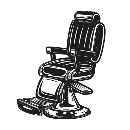 Barber chair isolated on white background. Design element for barbershop emblem, sign, badge, poster. Vector illustration
