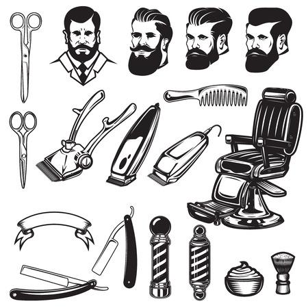 이발소 디자인 요소의 집합입니다. 가위, 면도날, 이발소 의자, 가위. 로고, 레이블, 엠 블 럼, 기호 디자인 요소입니다. 벡터 일러스트 레이 션