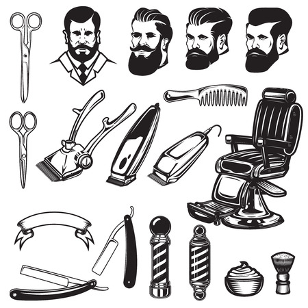 Set of barbershop design elements. scissors, shaving blades, barber chair, clipper. Design elements for logo, label, emblem, sign. Vector illustration Ilustração