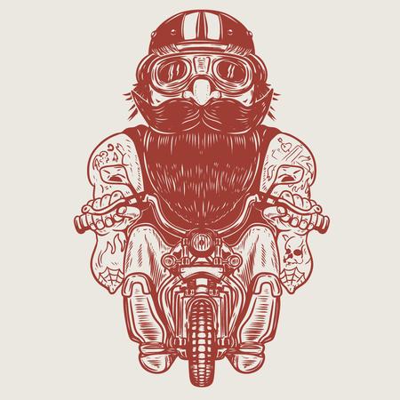 Funny biker caricature. Racer on little motorcycle. Design element for poster, t-shirt, card, banner. Vector illustration Illustration