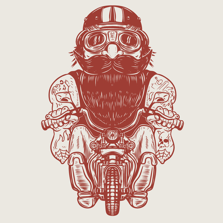 Funny biker caricature. Racer on little motorcycle. Design element for poster, t-shirt, card, banner. Vector illustration Çizim