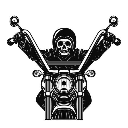 Dead man on the motorcycle. Motorbike racer. Design element for poster, emblem, sign. Vector illustration