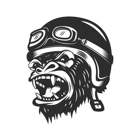 Boos gorilla aap in racer helm. Ontwerpelement voor logo, etiket, embleem, poster, t-shirt. Vector illustratie Stock Illustratie