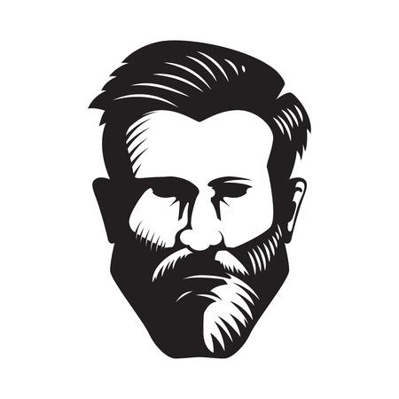 Bärtige Mannkopfillustration lokalisiert auf weißem Hintergrund. Gestaltungselement für Poster, Emblem, Zeichen, Abzeichen. Vektor-Illustration Standard-Bild - 88311351