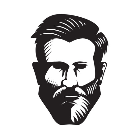 Bearded man head illustration isolated on white background. Design element for poster, emblem, sign, badge. Vector illustration