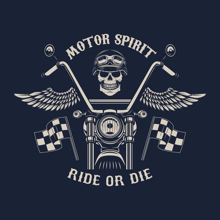 모터 정신. 타거나 죽거나. 날개가있는 오토바이. 레이서 두개골. 포스터, 엠 블 럼, 기호, 배지 디자인 요소입니다. 벡터 일러스트 레이 션 일러스트