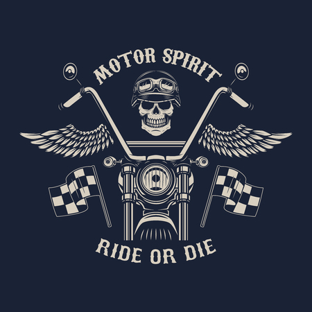 Motor spirit. Ride or die. Motorcycle with wings. Racer skull. Design element for poster, emblem, sign, badge. Vector illustration