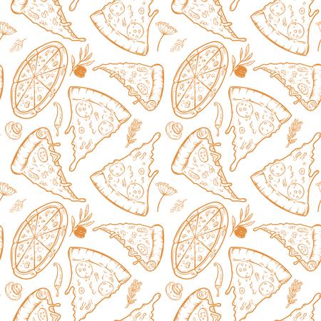 ピザ、ハーブ、キノコ、オリーブとのシームレスなパターン。ベクターイラスト