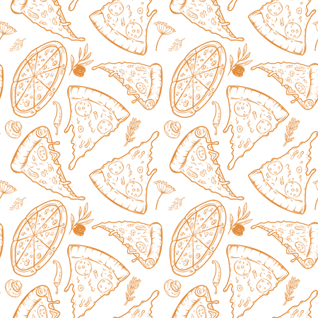 Seamless pattern with pizza, herbs, mushrooms, olives. Vector illustration Illustration